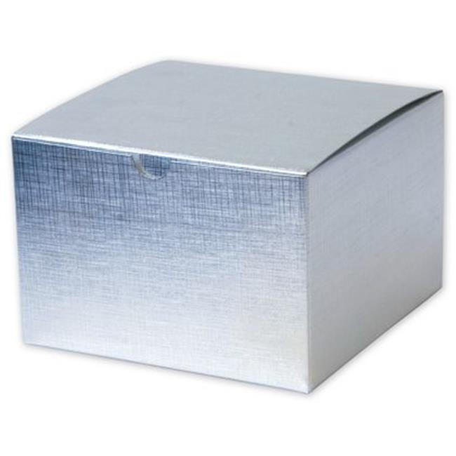 Deluxe Small Business Sales 541-664-7 6 x 6 x 4 in. Linen Foil One-Piece Gift Boxes, Silver