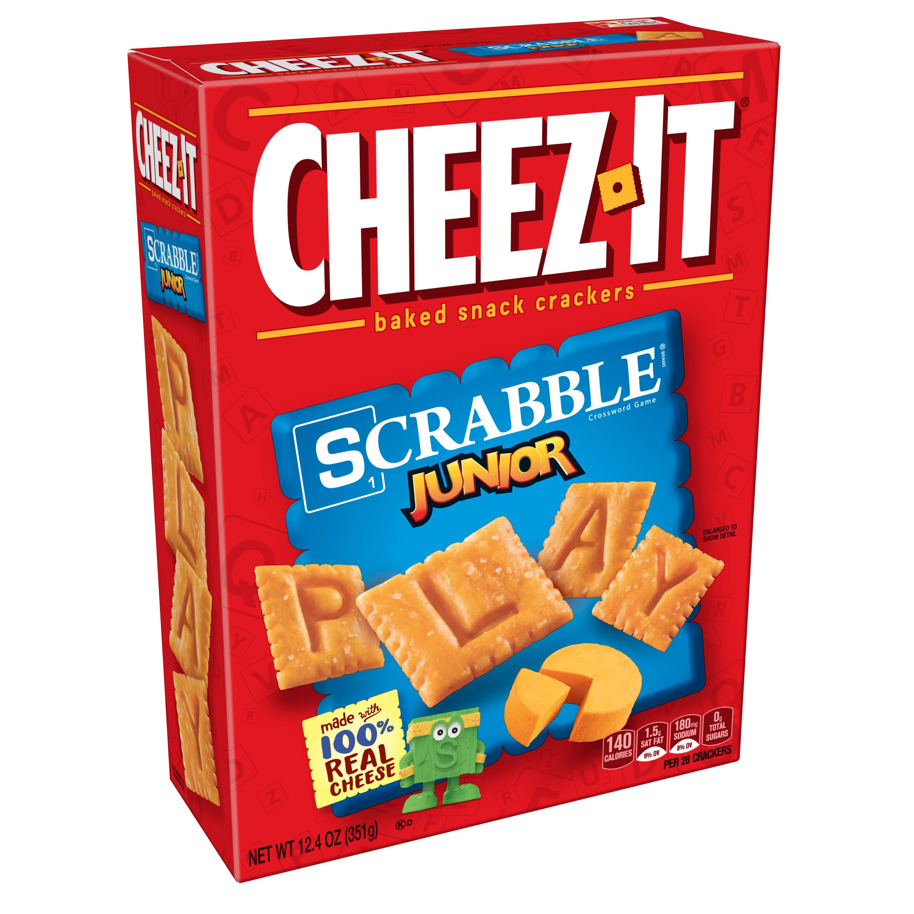 (2 Pack) Cheez-It, Baked Snack Cheese Crackers, Scrabble Junior, 12.4 oz