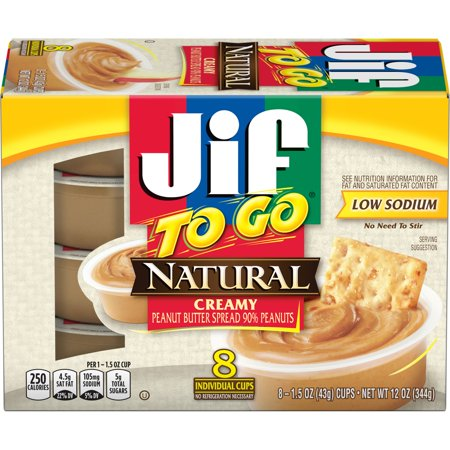 Jif To Go Natural Creamy Peanut Butter Spread, 12-Ounce