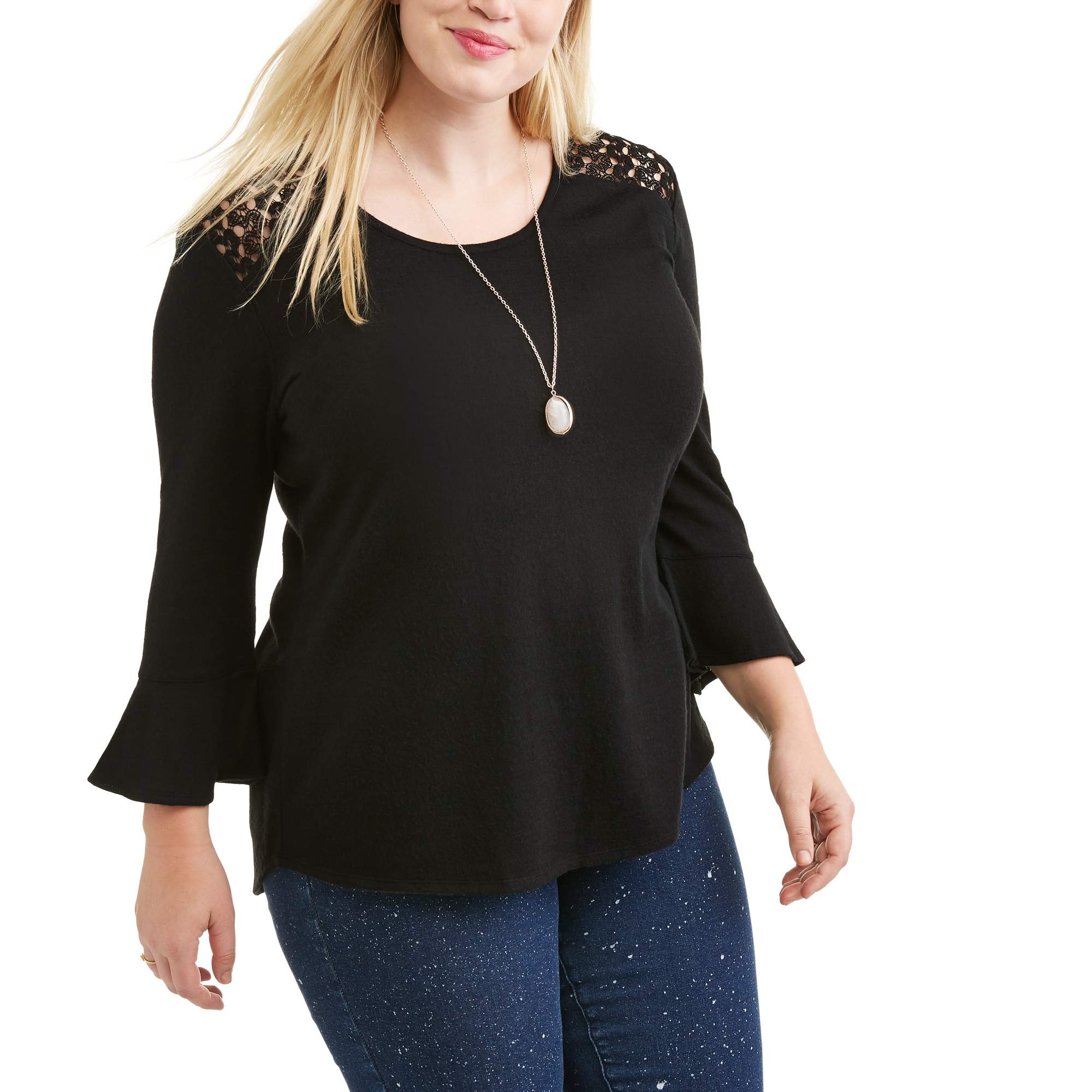 Juniors' Plus Lace Yoke Blouse With Ruffle Sleeve and Necklace 2fer