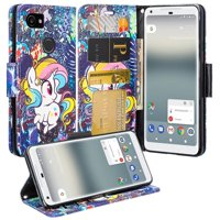 Google Pixel 2 XL Case, Slim Flip [Kickstand] Wrist Strap Pu Leather Magetic Fold Wallet Cover w/ Slots - Rainbow Unicorn
