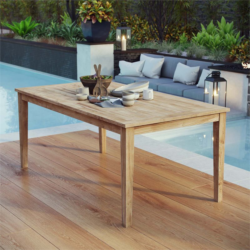 Modway Marina Outdoor Patio Teak Dining Table in Natural