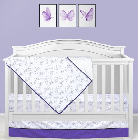 Pink And Brown Baby Bedding - Pam Grace Creations Purple Butterfly 3 Piece Crib Bedding Set Purple/Black/Gray