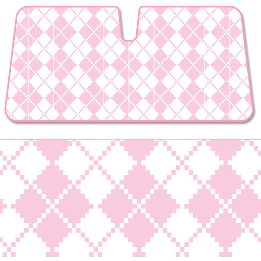 BDK Pink Plaid SunShade, Diamond Pattern, Folding Accordion with Static Cling Auto Shade