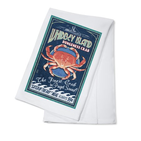 Whidbey Island, Washington - Dungeness Crab Vintage Sign - Lantern Press Artwork (100% Cotton Kitchen (Cooking Dungeness Crab)