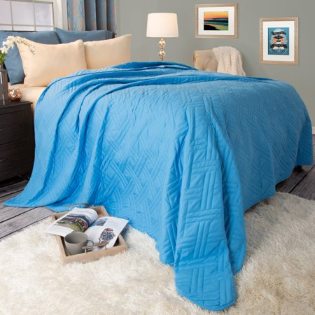 Somerset Home Solid Color Bed Quilt, King, Blue