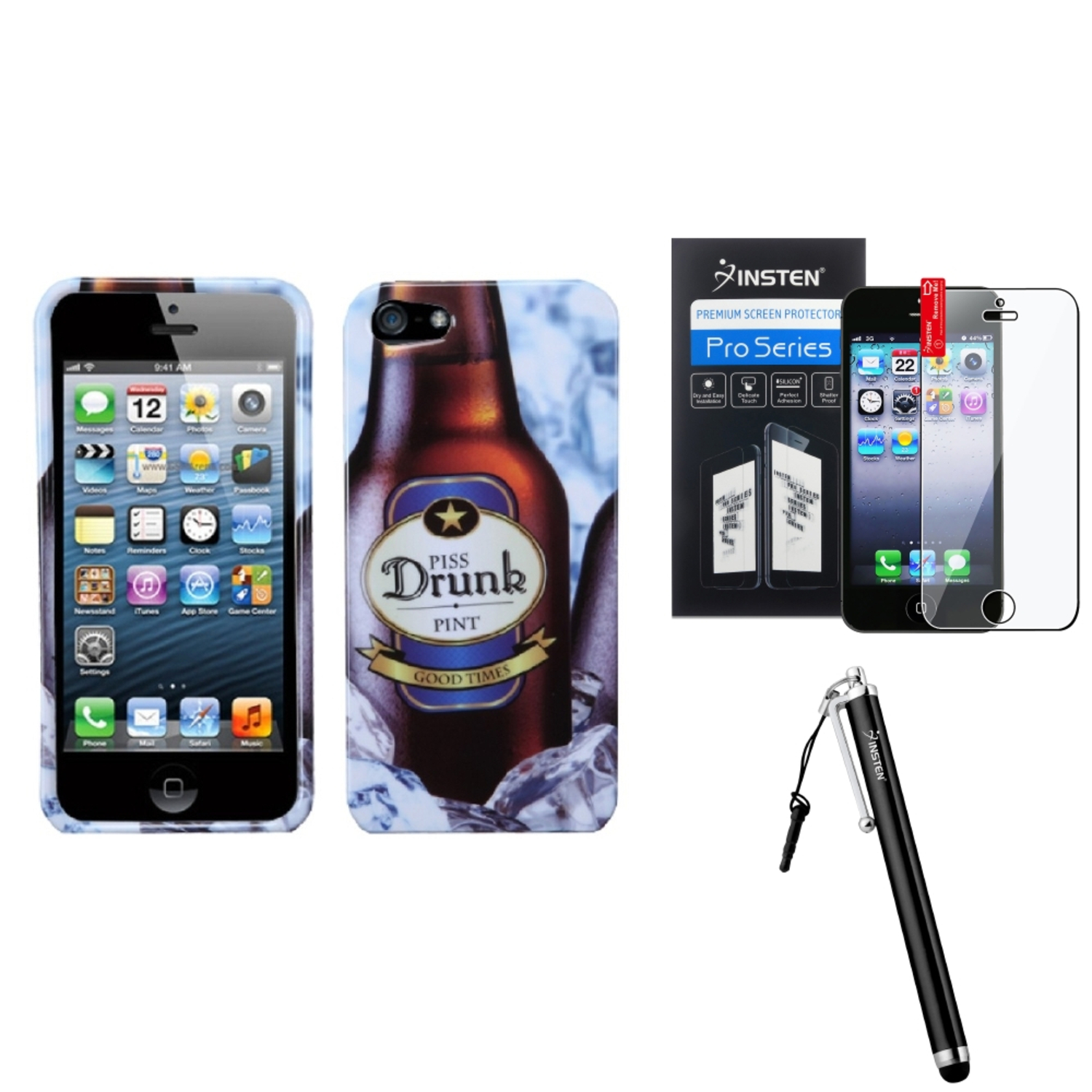 Insten Piss_drunk1 Case For Apple iPhone 5 / 5s   Stylus   LCD Film