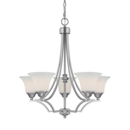Capital Lighting Towne  and  Country - Five Light Chandelier, Matte Nickel Finish with Soft White Glass ()
