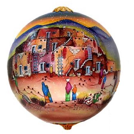 Lawrence Vargas Taos Pueblo New Mexico Reverse Painted Glass Christmas Ornament