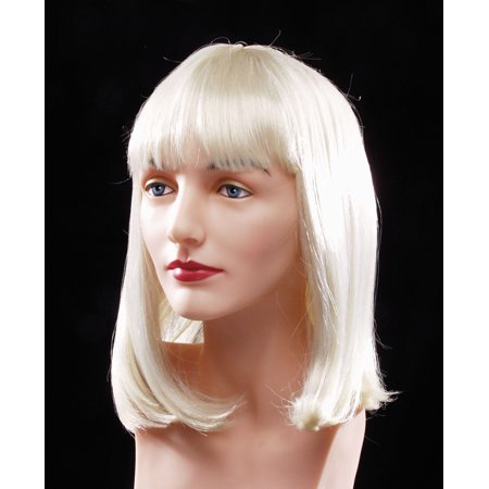 Star Power Flapper Bob with Bangs Short Length Straight Wig, Blonde, One - Blonde Wig With Bangs