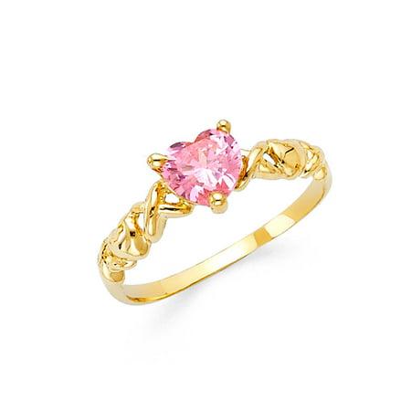 FB Jewels 14K Yellow Gold Cubic Zirconia CZ Fashion Anniversary Ring Size 12