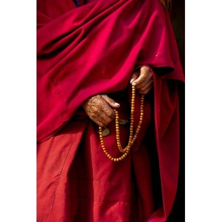 Hands of a monk in red holding prayer beads Leh Ladakh India Canvas Art - Ellen Clark DanitaDelimont (24 x 36)