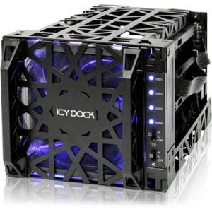 "Icy Dock Black Vortex 4 Bay 3.5"" SATA HDD Cooler Cage - 120mm Fan in 3x5.25"" Bay"