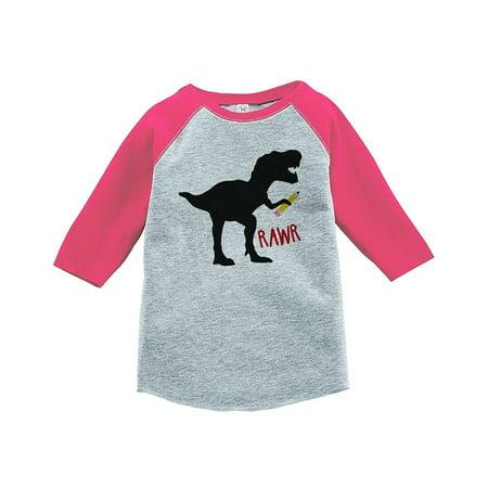 Custom Girl Clothing (Custom Party Shop Girls Dinosaur School Pink Baseball Tee -)