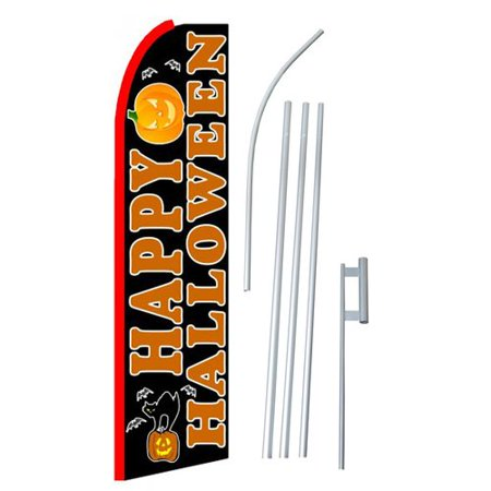 NeoPlex Happy Halloween Polyester 15' x 2'6 Flag set for $<!---->