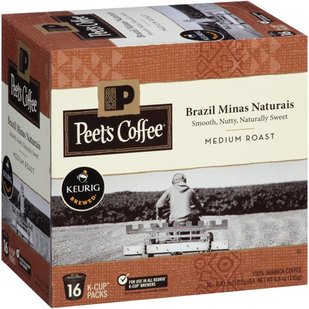 Peet's Coffee Brazil Minas Naturais Medium Roast Coffee K-Cup Packs, 0.43 oz, 16 count