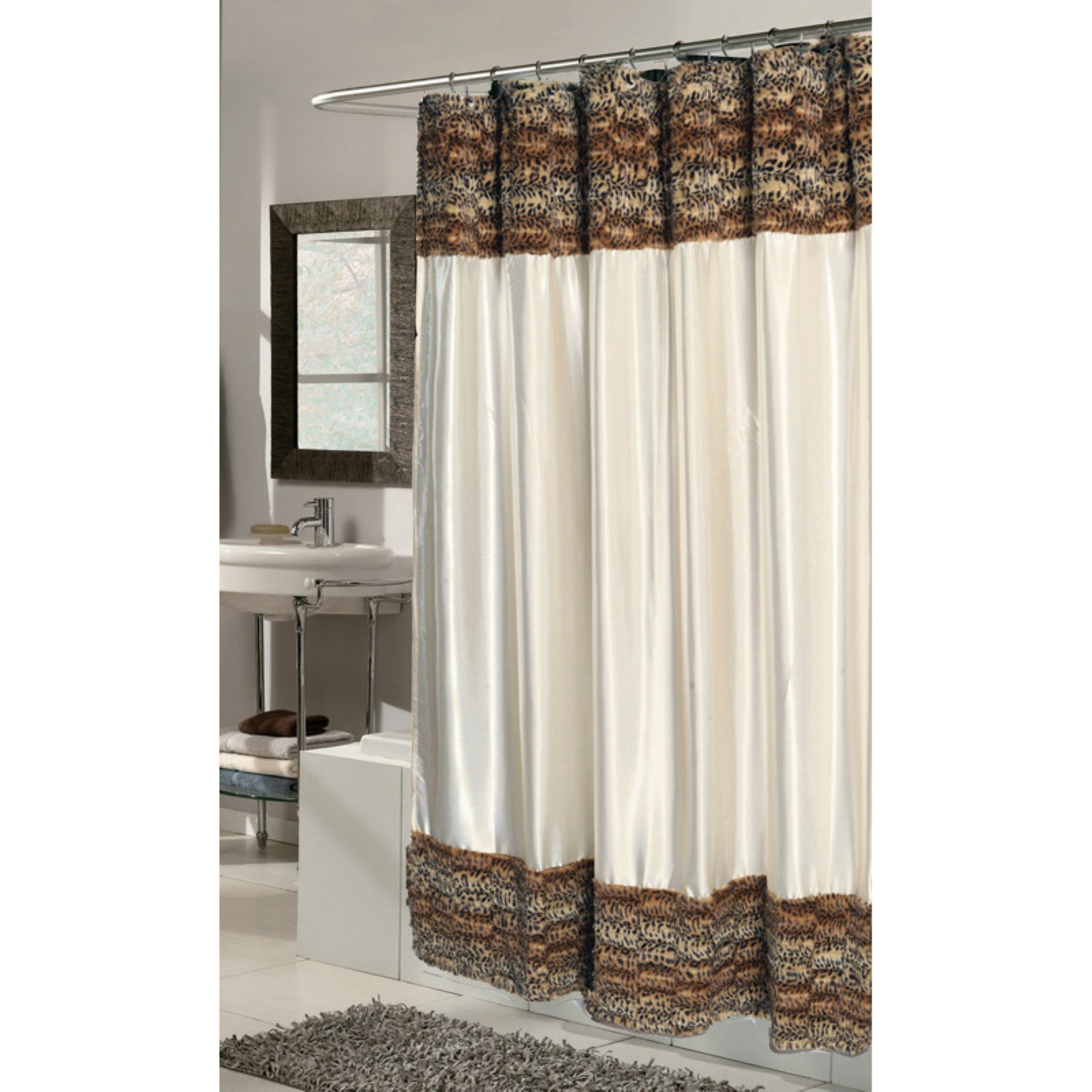 Carnation Home Fashions Animal Instincts Faux Fur Border Solid Shower Curtain with PEVA Liner