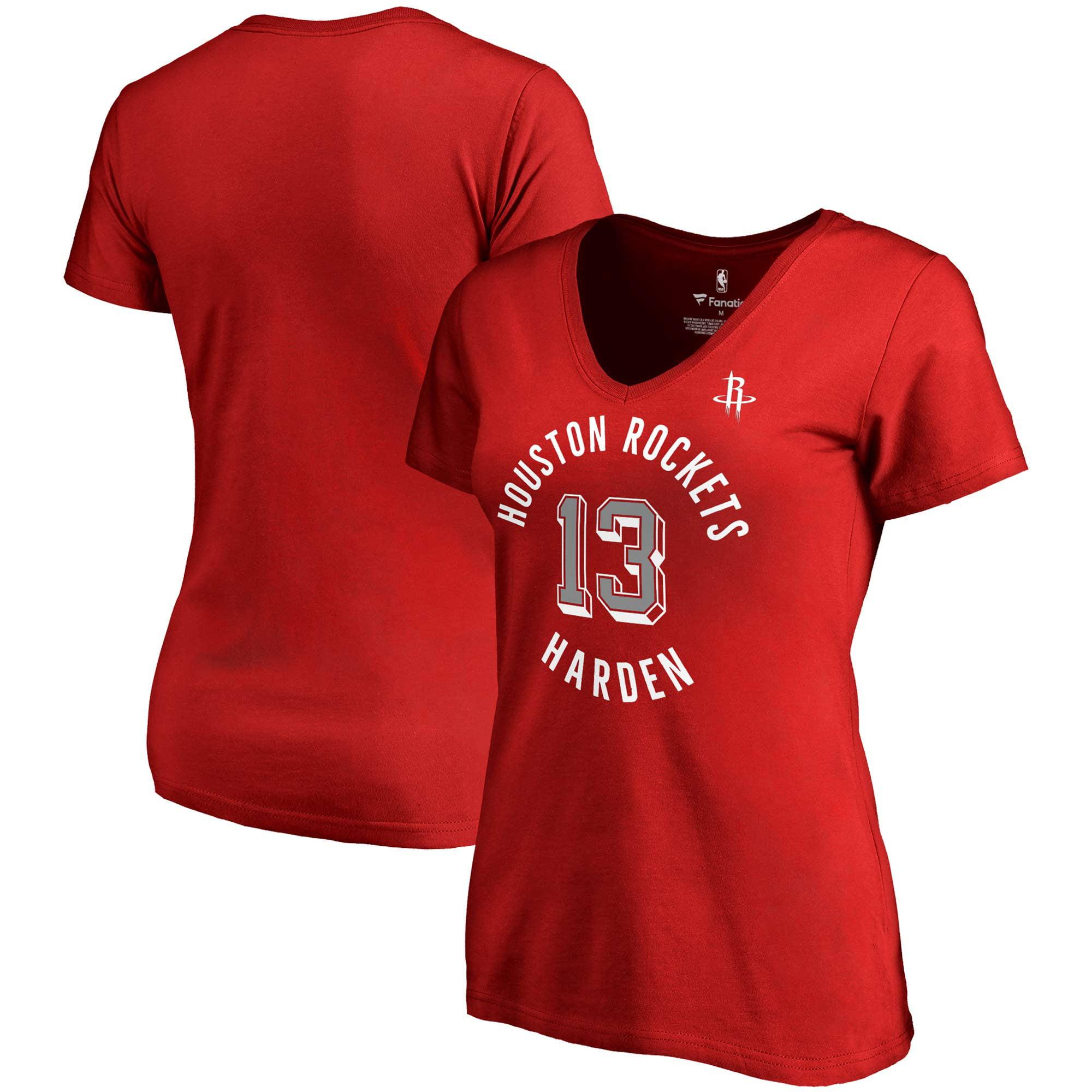 James Harden Houston Rockets Fanatics Branded Women's Notable Name & Number V-Neck T-Shirt - Red