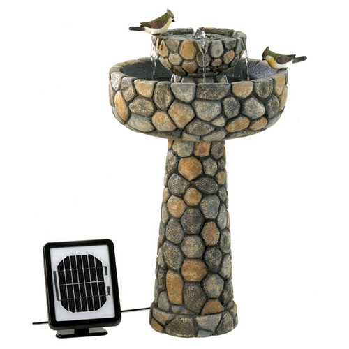 Zingz & Thingz Polyresin Solar Two-Tier Cobblestone Water...