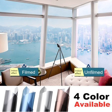 1 Roll Window Film One Way Mirror Film Daytime Privacy Static Self Adhesive Decorative Heat Control Anti UV Window Tint for Home and Office,19.7''x78.7''