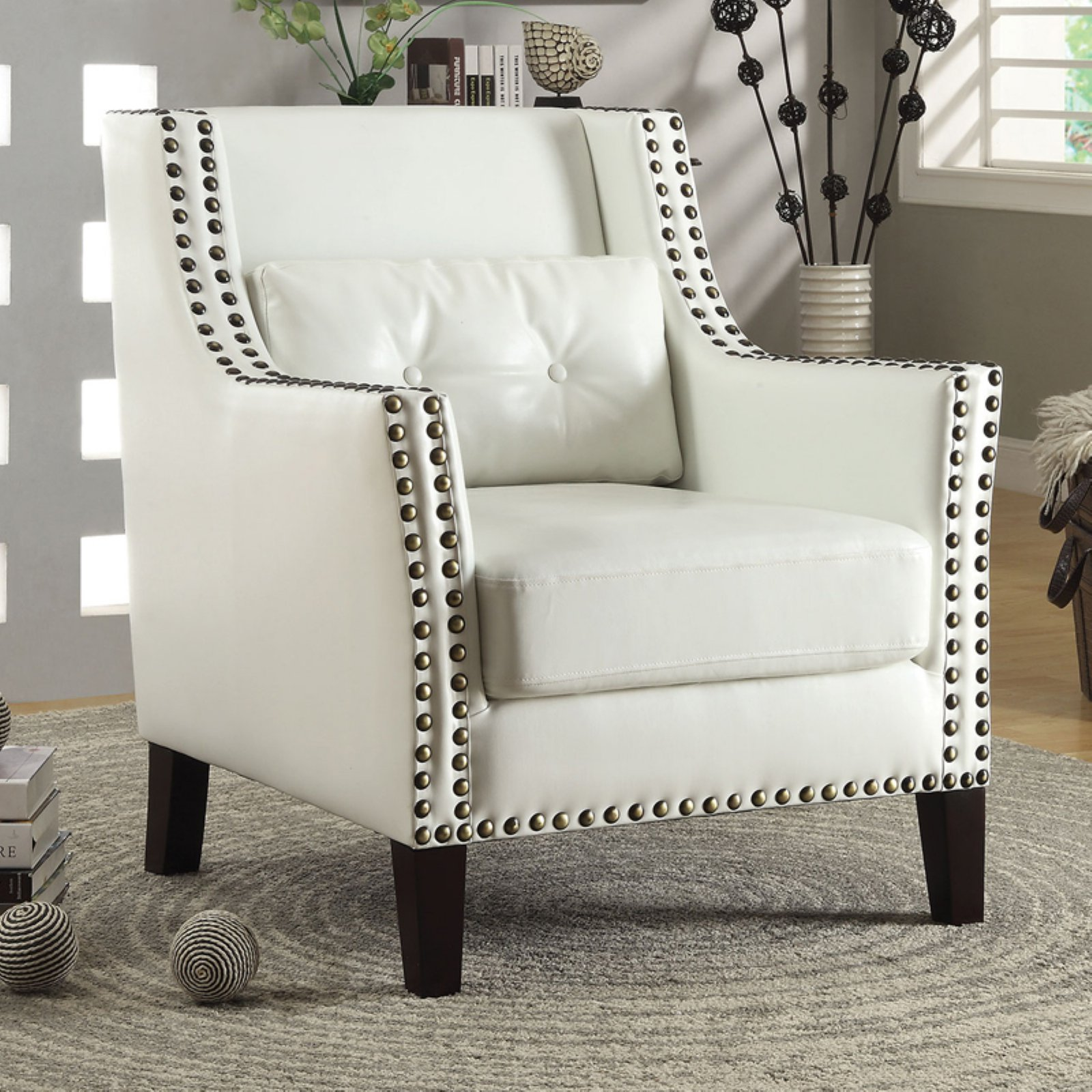 Coaster traditional leatherette accent chair white walmart com