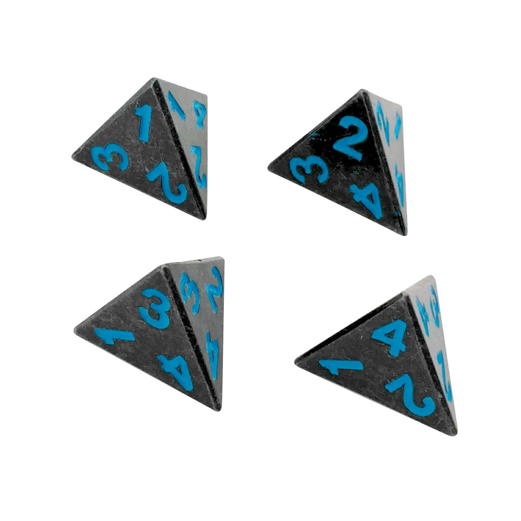 4 Pack of D4 - Ice King's Revenge | Gunmetal Gray with Blue Numbers Metal Dice -