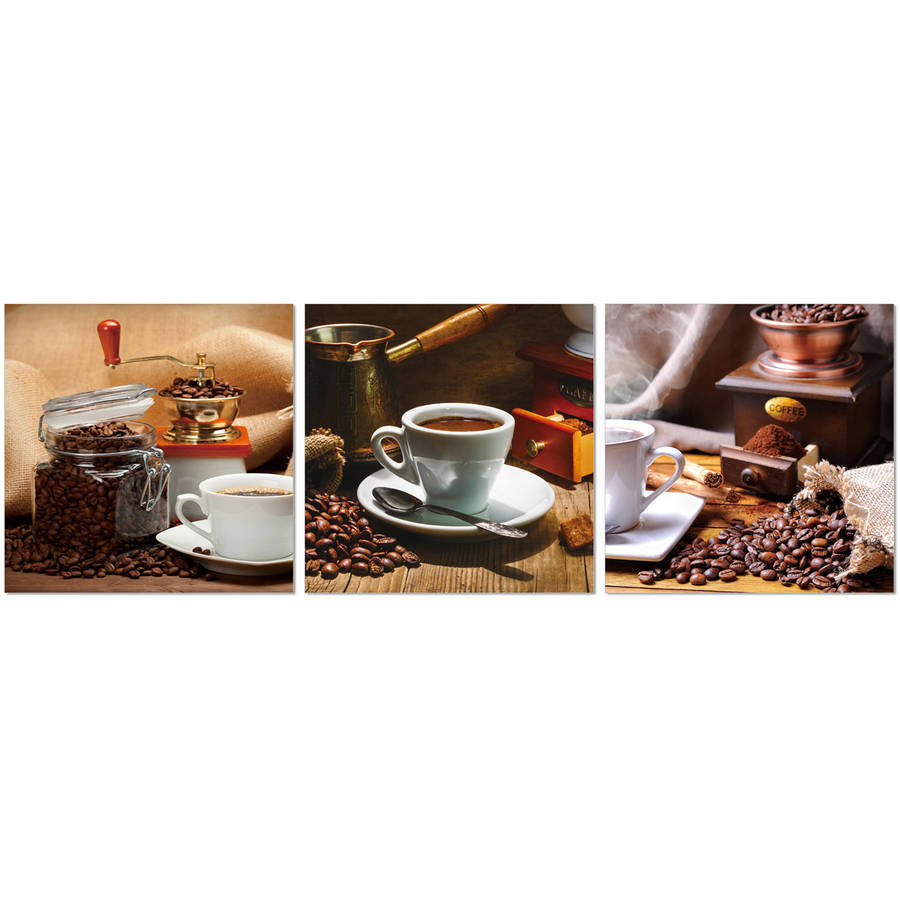 """Furinno SeniA Cup of Coffee 3-Panel MDF Framed Photography Triptych Print, 48"""" x 16"""""""