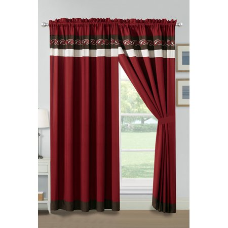 Woven Paisley Scroll - 4-Pc Landry Floral Scroll Paisley Embroidery Stripe Curtain Set Burgundy Brown Off-White Sheer Liner Drape