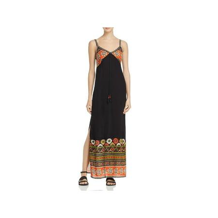 Gypsy Maxi - Band of Gypsies Womens Cabo Printed Strappy Maxi Dress Black M