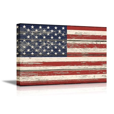 wall26 - USA Flag on Vintage Wood Background- Canvas Art Wall Decor - 32