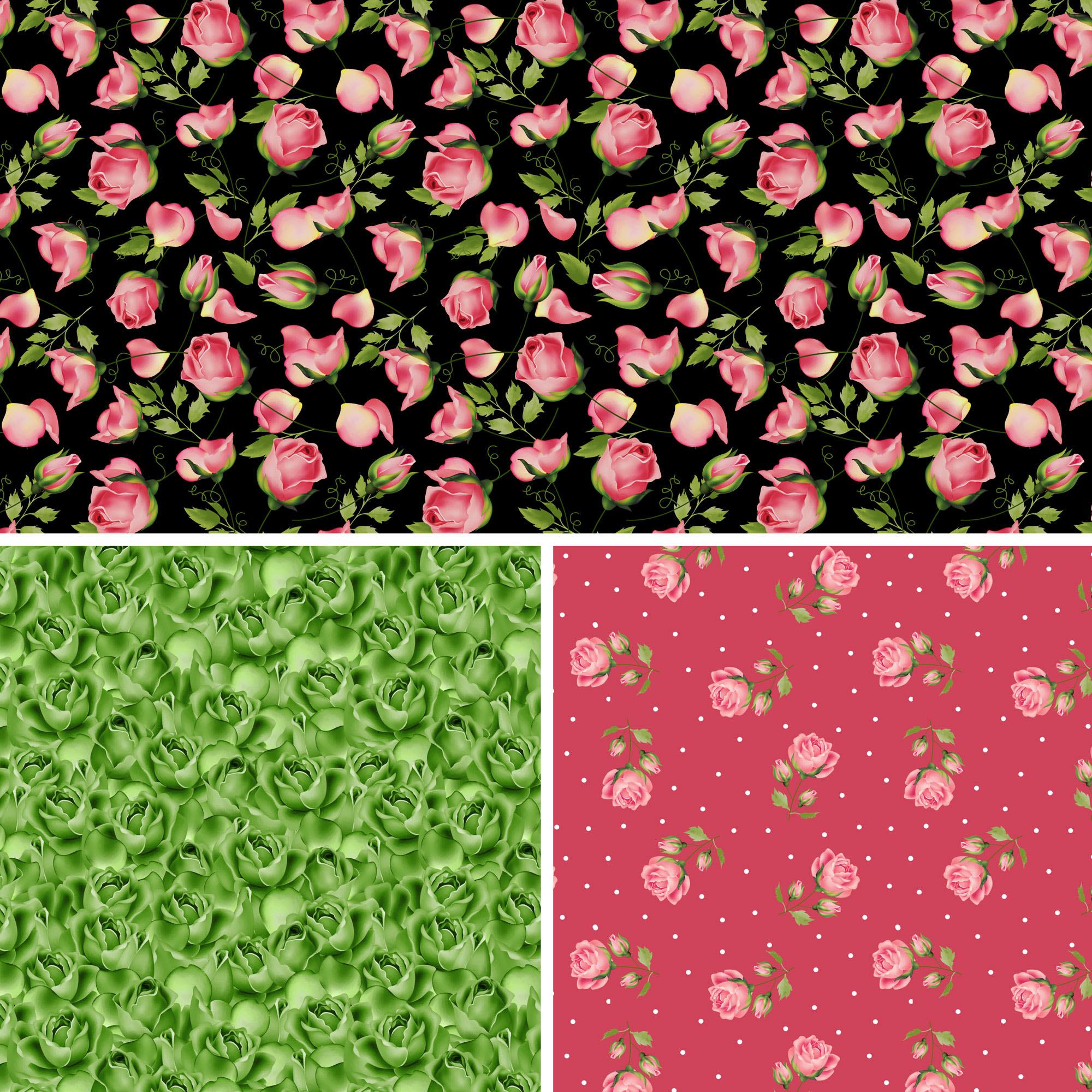 David Textiles Cotton Precut Fabric Wild Rose Collection 1 Yd X 44 Inches