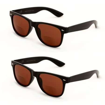 444b7ee66d141 Vision World Eyewear - V.W.E. 2 Pairs Classic Bifocal Outdoor Reading  Sunglasses - Comfortable Stylish Simple Readers Rx Magnification -  Walmart.com