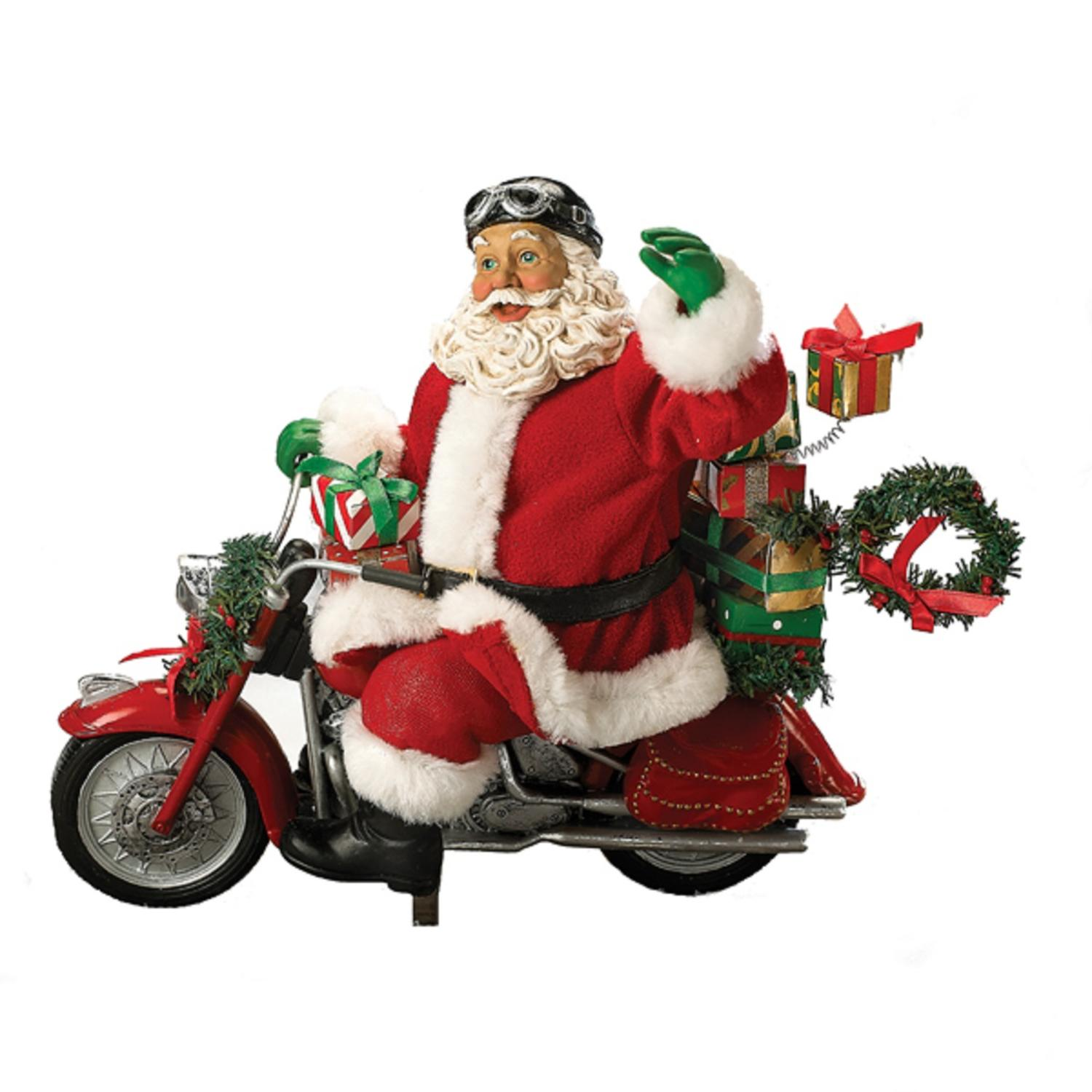 "10.5"" Fabrich���� Motorcycle Santa with Presents Christmas Table Top Decoration"