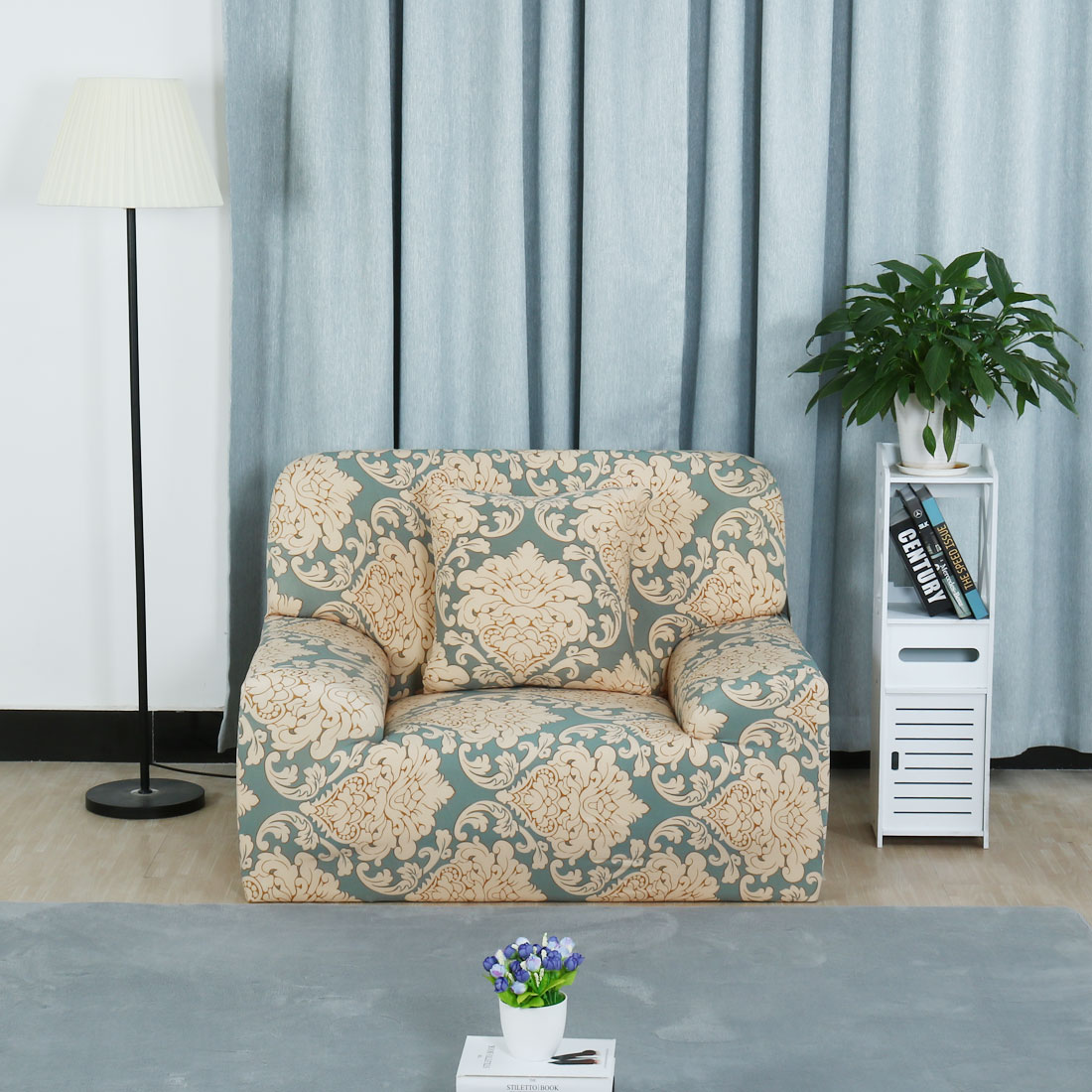 PiccoCasa Leave Flower Pattern Sofa Chair Cover Slipcover Protector 35 55  Inch   Walmart.com