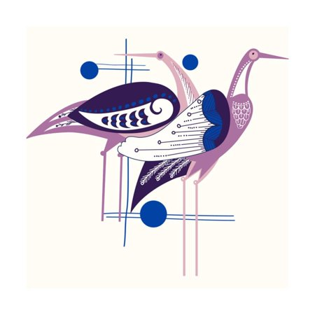 Deco Cranes Print Wall Art - Art Deco Walls