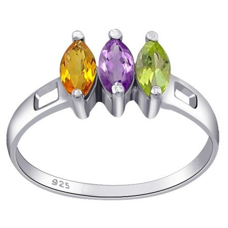 (0.65 Carat Genuine Amethyst, Peridot & Citrine Marquise Cut 3 Stone Sterling Silver Ring For Women by Orchid Jewelry)