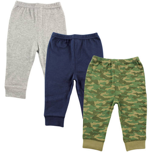 Luvable Friends Newborn Baby Boys Tapered Ankle 3 Pack Pant - Camo