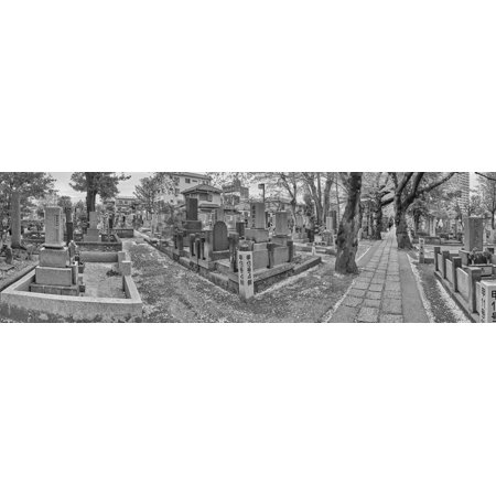 Gravestones In A Cemetery Yanaka Cemetery Taito Tokyo Japan Canvas Art   Panoramic Images  36 X 12