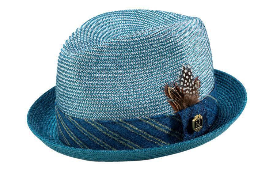 Montique Teal Braided Stingy Brim Pinch Fedora Hat H1946