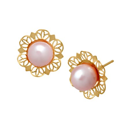 Freshwater Pink Pearl Stud Earrings in 14kt Gold