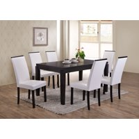 """Astaire 7-Piece Kitchen Dining Set, Cappuccino Wood, 59"""" Rectangle, Contemporary, (Table & 6 White Parsons Chairs)"""