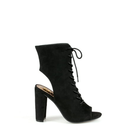 fdedb9c10e8 Black Lace Up High Heel Booties - Image Of Tie