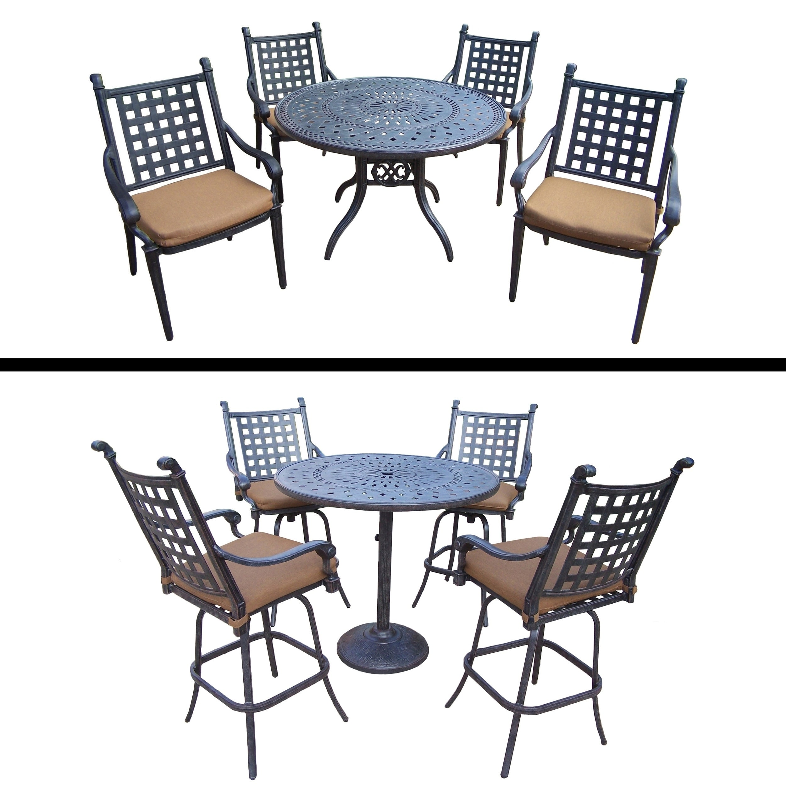 Oakland Living 5 Pc Bar Set and 5 Pc Dining Room Set with Sunbrella Cushions by Overstock