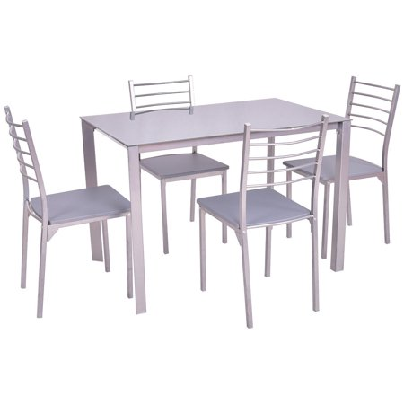 GHP Iron MDF PVC Tempered Glass Top Dining Table with 4-Pcs 220-Lbs Dining Chairs Set