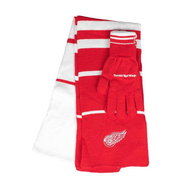 Little Earth 500657-WING NHL Scarf Glove Gift Set Stripe, Detroit Red Wings by