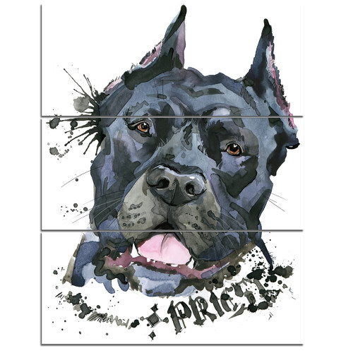 Design Art 'Aggressive Black Dog Illustration' 3 Piece Wall Art on Wrapped Canvas