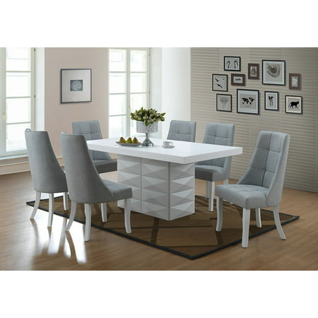 Lexie 7 Piece Dining Set, White Wood & Blue Vinyl, Contemporary, 71