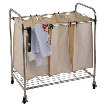 Costway 3 Bag Laundry Rolling Cart Basket Hamper Sorter Storage Organizer 4 Wheels