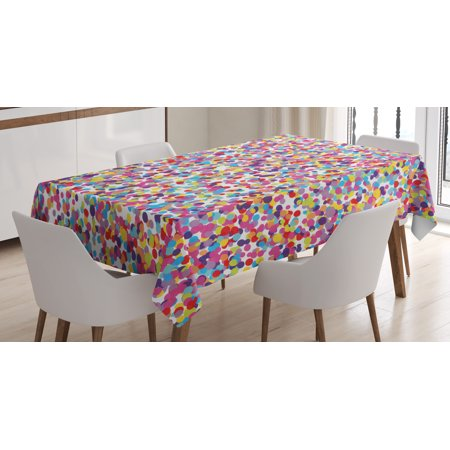 Fiesta Tablecloth, Round Rainbow Colored Confetti Pattern Celebratory Festive Illustration Abstract, Rectangular Table Cover for Dining Room Kitchen, 60 X 90 Inches, Multicolor, by Ambesonne - Fiesta Tablecloths
