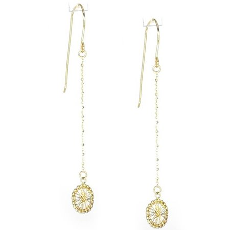 14kt Yellow Gold Diamond-Cut Round Dream Catcher Dangle and Drop Chain Earrings, French - Cut Out French Wire Earrings